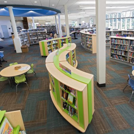 Bright colored library furniture